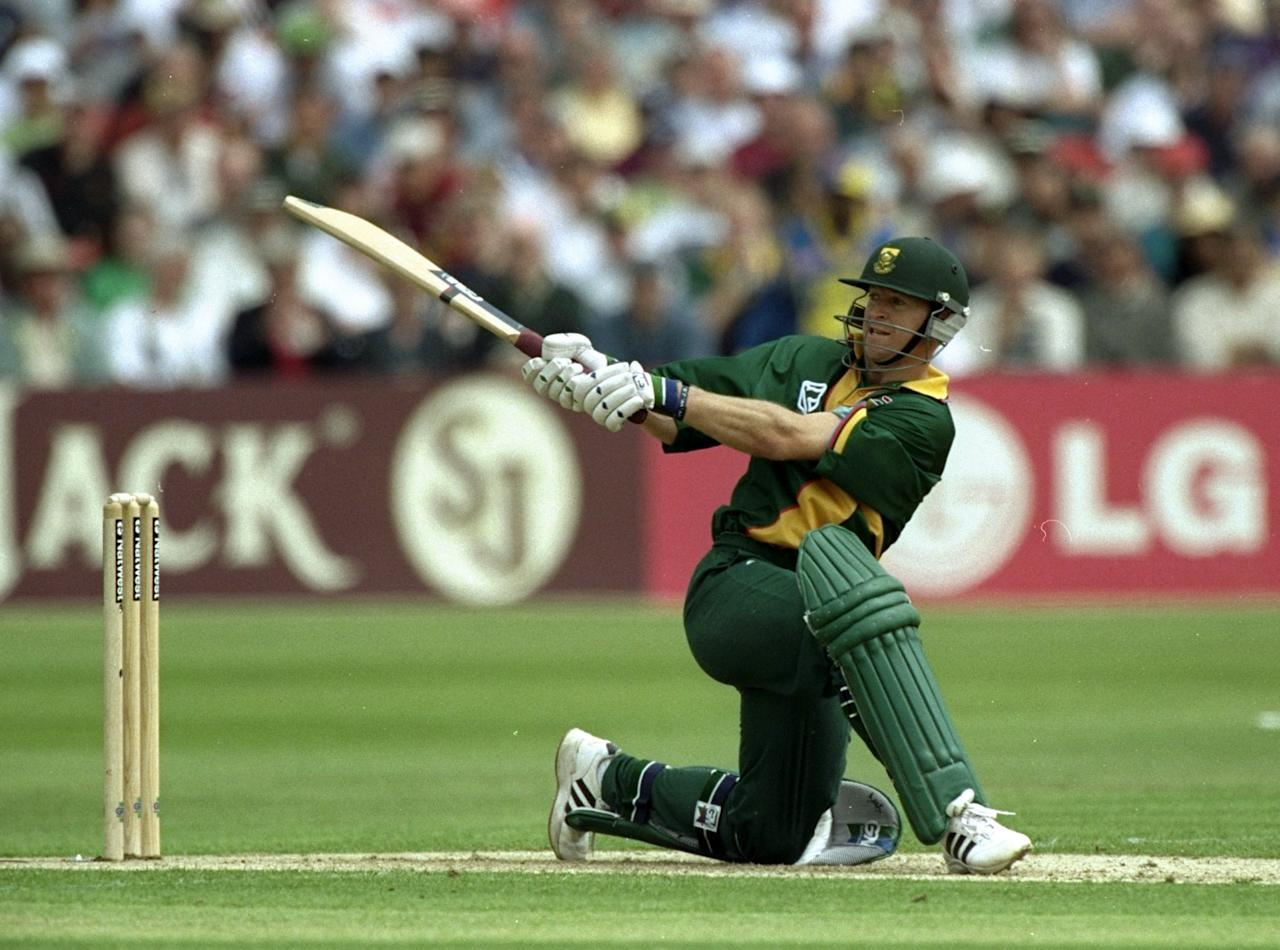 19 May 1999:  Jonty Rhodes of South Africa reverse sweeps the ball  during the Cricket World Cup Group A match against Sri Lanka played at The County Ground  in Northampton, England. South Africa won the game by 89 runs. \ Mandatory Credit: Stu Forster /Allsport