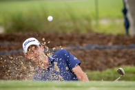 Chesson Hadley hits out of the bunker on the the second green during the final round of the Palmetto Championship golf tournament in Ridgeland, S.C., Sunday, June 13, 2021. (AP Photo/Stephen B. Morton)