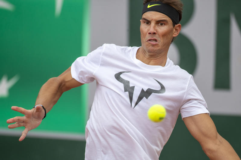 Rafael Nadal training on Court Three in preparation for the 2020 French Open.