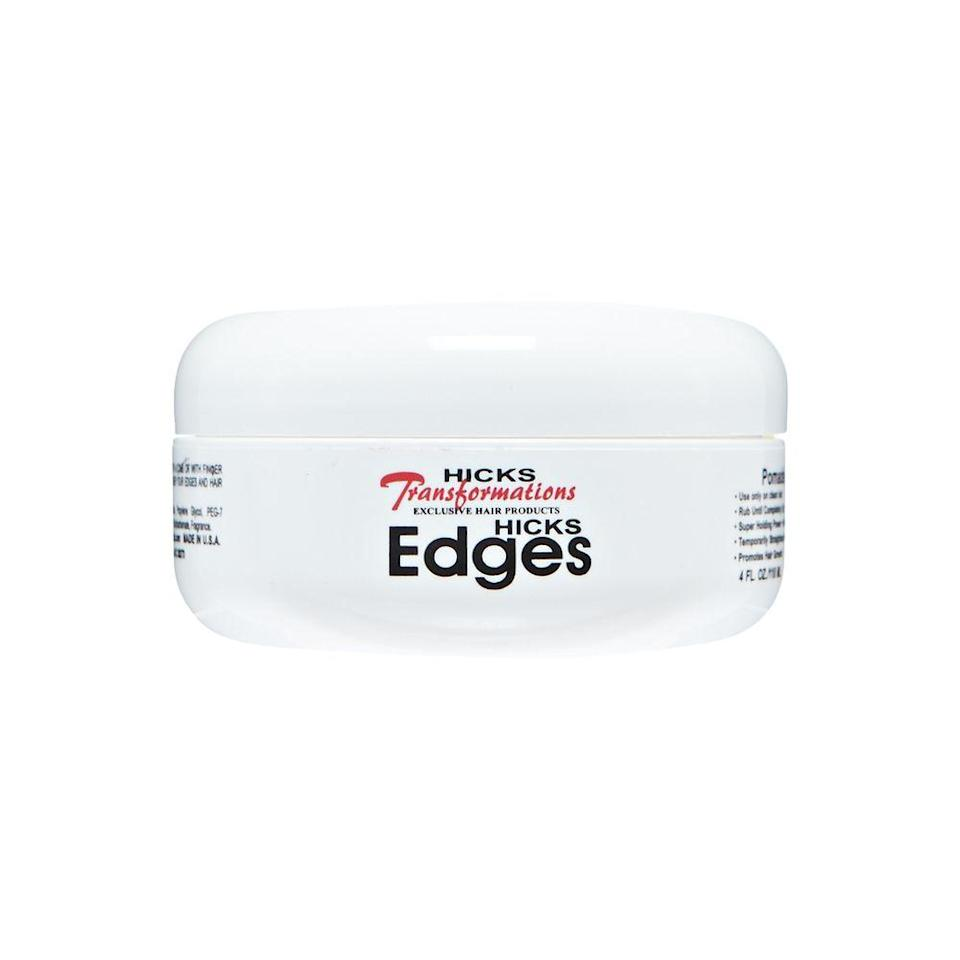 """<p>You don't have to worry about your edges sticking together or flaking with Hicks's Edges Pomade. It's great for controlling tapered cuts and molding the wispies at your hairline, and it won't leave a trace of icky grease in its wake.</p> <p><strong>$13</strong> (<a href=""""https://www.amazon.com/Hicks-Total-Transformations-Edges-Styling/dp/B005356O34"""" rel=""""nofollow noopener"""" target=""""_blank"""" data-ylk=""""slk:Shop Now"""" class=""""link rapid-noclick-resp"""">Shop Now</a>)</p>"""
