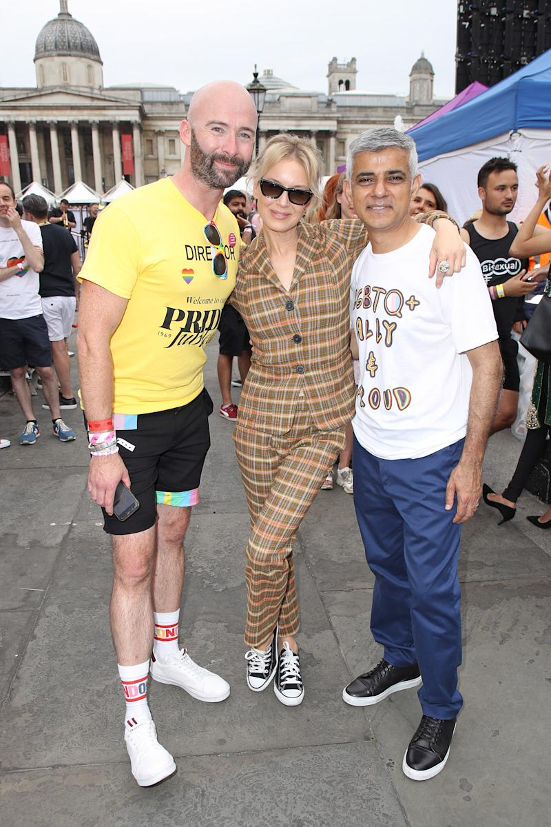 Renee Zellweger pictured with London Mayor Sadiq Khan (right) at Pride in London 2019. [Photo: Getty]