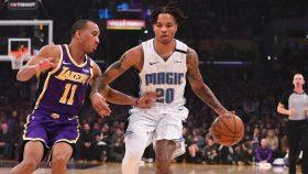 Lakers guard Avery Bradley and Magic guard Markelle Fultz