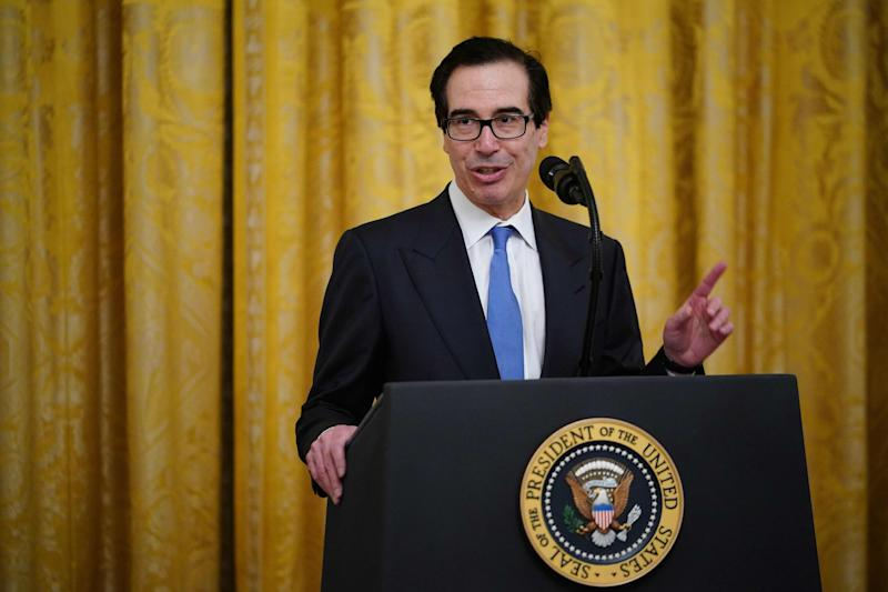 Secretary of the Treasury Steve Mnuchin, speaks in the East Room of the White House in Washington, April 28, 2020.