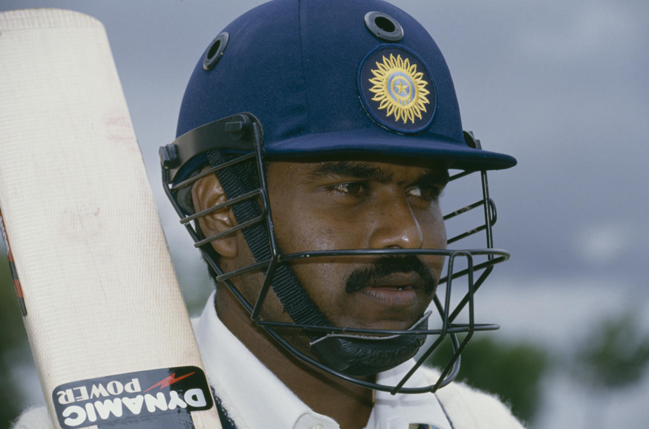 Batsman Pravin Amre in Bloemfontein to play for India against a South African Invitation XI, November 1992. (Photo by Mike Hewitt/Getty Images)