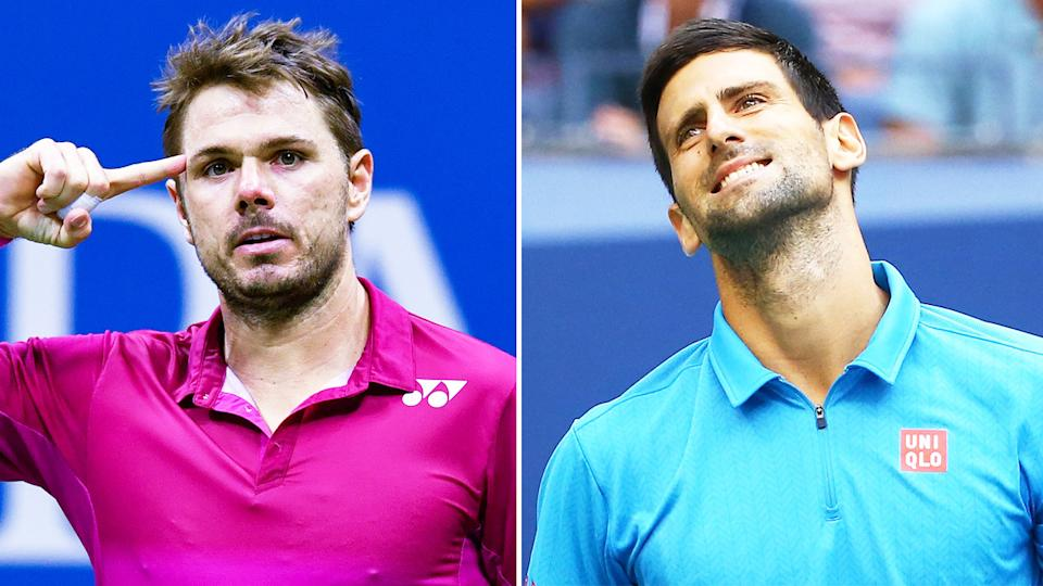 Stan Wawrinka (pictured left) celebrating by pointing to his head and World No.1 Novak Djokovic (pictured right) frustrated.