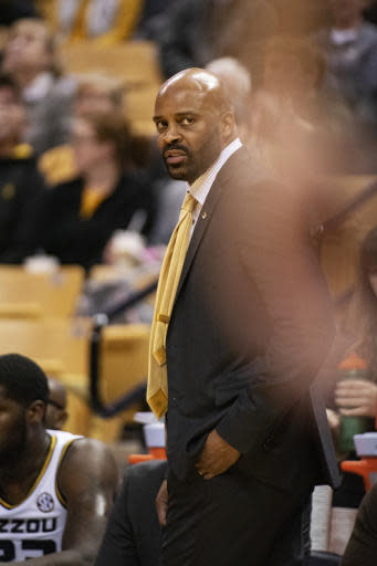 Missouri head coach Cuonzo Martin watches his team play during the first half of an NCAA college basketball game against Charleston Southern Tuesday, Dec. 3, 2019, in Columbia, Mo. (AP Photo/L.G. Patterson)