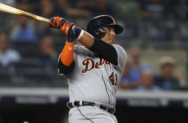 Detroit Tigers' Victor Martinez watches a two-run home run against the New York Yankees during the ninth inning during a baseball game Thursday, Aug. 30, 2018, at Yankee Stadium in New York. (AP Photo/Rich Schultz)