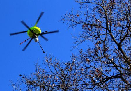 A drone equipped with cameras and sensors flies over a simulation of a contaminated area during a training exercise simulating a nuclear accident following an earthquake in the region of the nuclear site of Cadarache