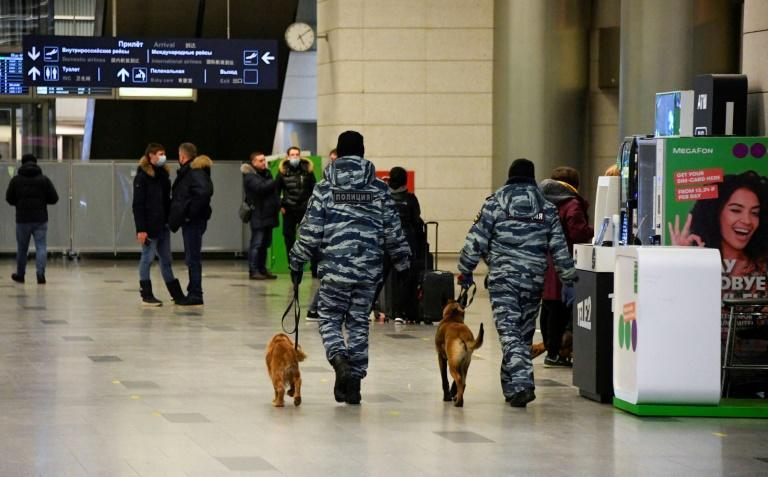 There was a heavy police presence at Vnukovo after authorities warned mass events would be forbidden because of Covid restrictions