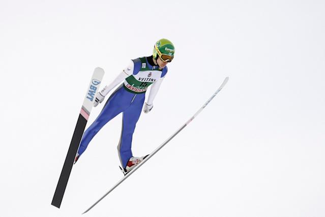 Lahti Ski Games - FIS Nordic World Cup - Men's Ski Jumping - Lahti, Finland - March 4, 2018. Antti Aalto of Finland competes. LEHTIKUVA/Roni Rekomaa via REUTERS ATTENTION EDITORS - THIS IMAGE WAS PROVIDED BY A THIRD PARTY. NO THIRD PARTY SALES. NOT FOR USE BY REUTERS THIRD PARTY DISTRIBUTORS. FINLAND OUT. NO COMMERCIAL OR EDITORIAL SALES IN FINLAND.