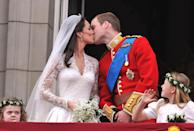 <p>Kate and William's wedding takes place only a few months later with 2000 guests attending the ceremony at Westminster Abbey. Kate wore an exquisite lace dress by Alexander McQueen to officially become the Duchess of Cambridge.<br><i>[Photo: PA]</i> </p>