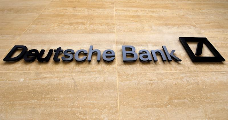 A logo is pictured outside the offices of German bank Deutsche Bank in central London on July 8, 2019. - Germany's biggest lender Deutsche Bank said Sunday it would cut 18,000 jobs by 2022, as the former leading light of the country's financial sector looks to escape years of turmoil. With almost 8,000 staff, Deutsche Bank is one of the biggest employers in the City of London. (Photo by Tolga AKMEN / AFP) (Photo credit should read TOLGA AKMEN/AFP/Getty Images)