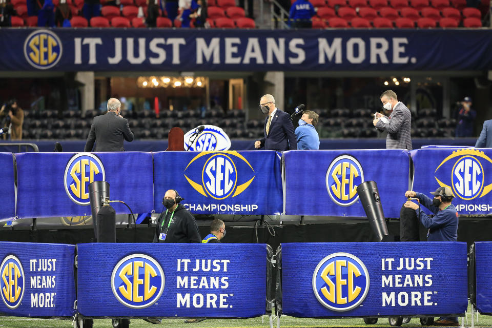 ATLANTA, GA - DECEMBER 19: The trophy presentation stage is prepped after the SEC Championship football game between the Florida Gators and the Alabama Crimson Tide on December 19, 2020 at the Mercedes-Benz Stadium in Atlanta, Georgia.  (Photo by David J. Griffin/Icon Sportswire via Getty Images)