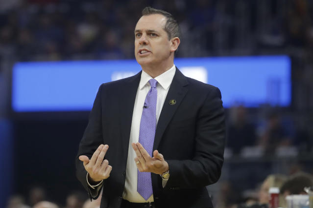 Los Angeles Lakers head coach Frank Vogel gestures during the first half of his team's NBA basketball game against the Golden State Warriors in San Francisco, Thursday, Feb. 27, 2020. (AP Photo/Jeff Chiu)