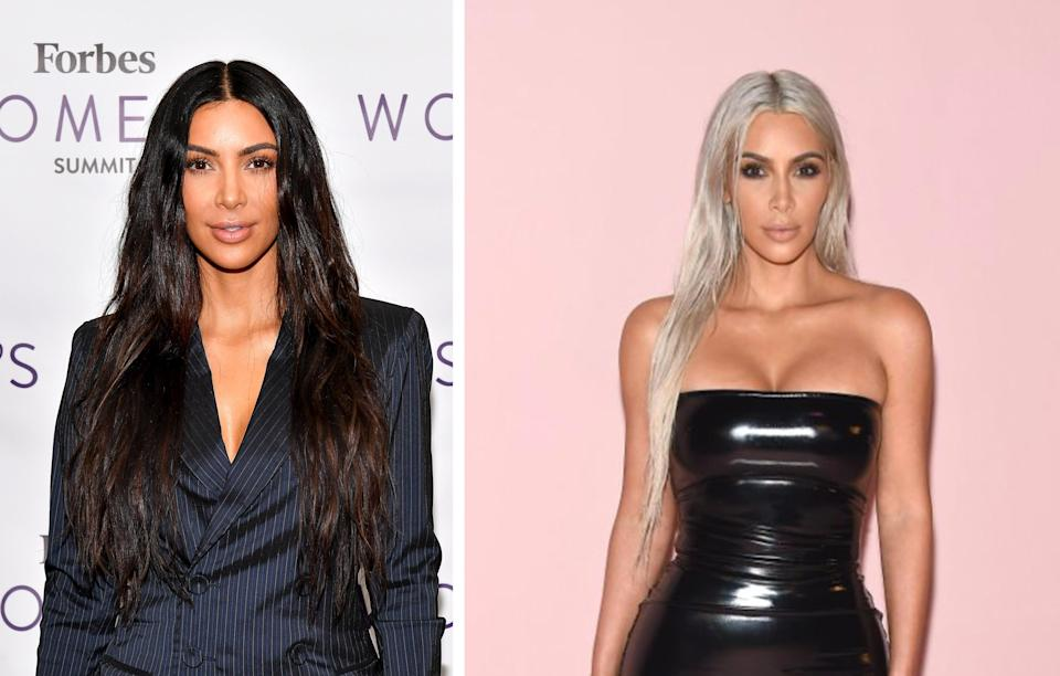 <p><strong>When:</strong> September 6<br>Kim rocked up to Tom Ford's SS18 show in New York with long silvery locks.<br><i>[Photo: Getty]</i> </p>