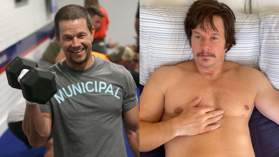 Mark Wahlberg followed an extreme diet to gain weight for his role in boxing movie 'Stu'. (Phillip Faraone/Getty Images/F45 Training/Instagram/Mark Wahlberg)