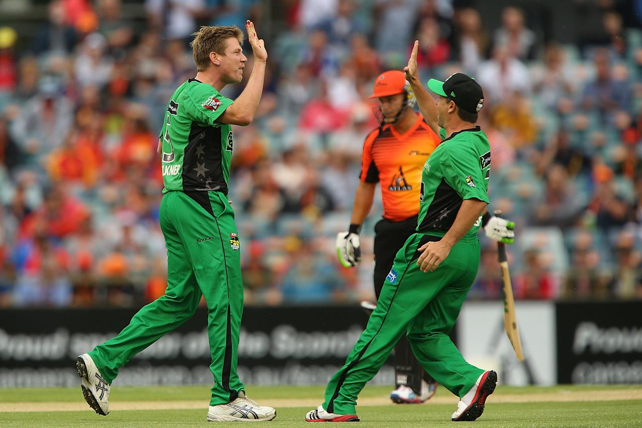 PERTH, AUSTRALIA - DECEMBER 12:  James Faulkner and Brad Hodge of the Stars celebrates the wicket of Herschelle Gibbs of the Scorchers during the Big Bash League match between the Perth Scorchers and the Melbourne Stars at WACA on December 12, 2012 in Perth, Australia.  (Photo by Paul Kane/Getty Images)
