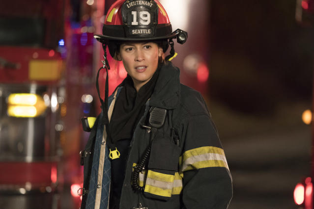 Jaina Lee Ortiz as firefighter Andy Herrera in <em>Station 19.</em> (Photo: Mitch Haaseth/ABC)