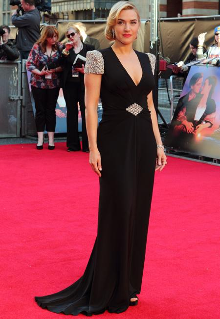 Celebrity fashion: Kate Winslet was the epitome of elegance at the Titanic 3D premiere in a plunging black frock by Jenny Packham. She added an extra element of showbiz style with heavily embellished capped sleeves.