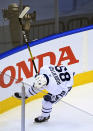 Toronto Maple Leafs left wing Nicholas Robertson celebrates his first career NHL goal during the second period of an NHL hockey playoff game against the Columbus Blue Jackets Thursday, Aug. 6, 2020, in Toronto. (Nathan Denette/The Canadian Press via AP)