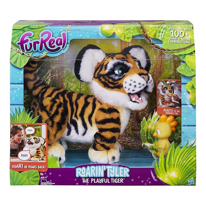 "This adorable yet smart tiger pet <a href=""https://www.amazon.com/FurReal-Roarin-Tyler-Playful-Tiger/dp/B01N39LX3X"" target=""_blank"">responds to movements</a> and roars with 100+ sound and motion combinations. Unlike other plush toys, furReal pets aren't intended to be merely watched or collected; they're designed to be played with, lived with, and loved."