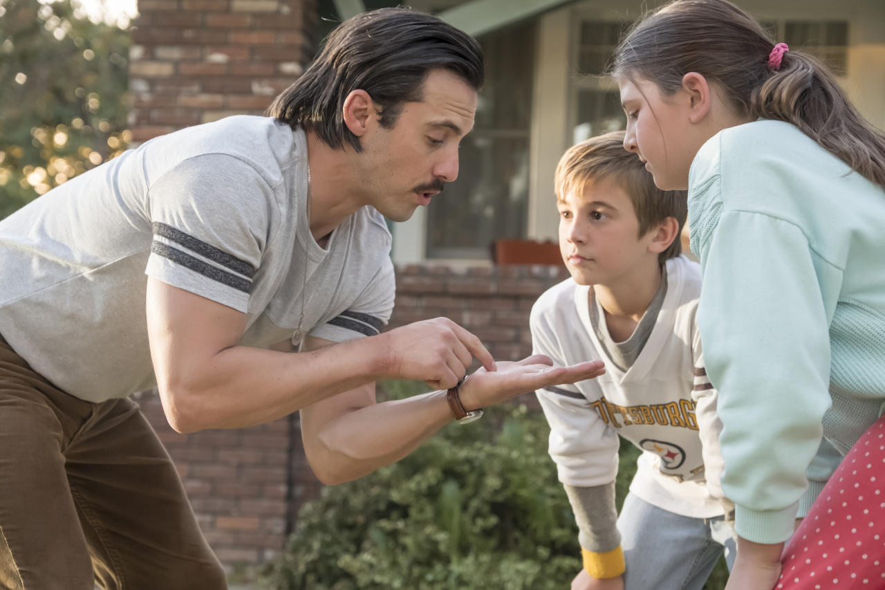 <p>Milo Ventimiglia as Jack, Parker Bates as Kevin, and Mackenzie Hancsicsak as Kate in NBC's <i>This Is Us</i>.<br /> (Photo: Ron Batzdorff/NBC) </p>