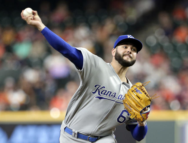 Kansas City Royals starting pitcher Jakob Junis throws against the Houston Astros during the first inning of a baseball game Monday, May 6, 2019, in Houston. (AP Photo/Michael Wyke)