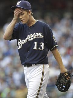 Brewers pitcher Zack Greinke walks off the mound after the fifth inning of Game 1 of the NLCS. He was the winning pitcher despite allowing six runs in six innings