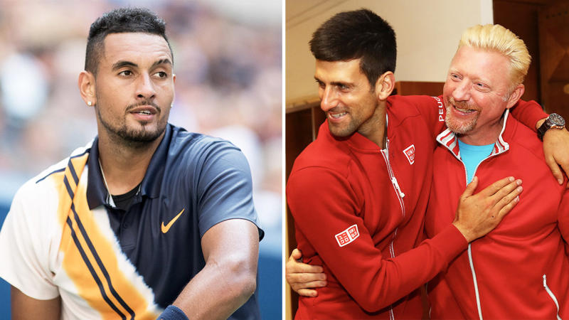 Nick Kyrgios (pictured left) after a point at the US Open andBoris Becker and Novak Djokovic (pictured right) hugging.