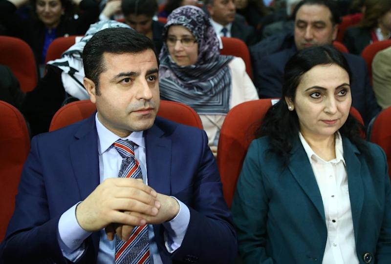 Eleven pro-Kurdish MPs from the Peoples' Democratic Party, including its co-leaders Figen Yuksekdag (R) and Selahattin Demirtas (L), were detained (AFP Photo/Adem Altan)