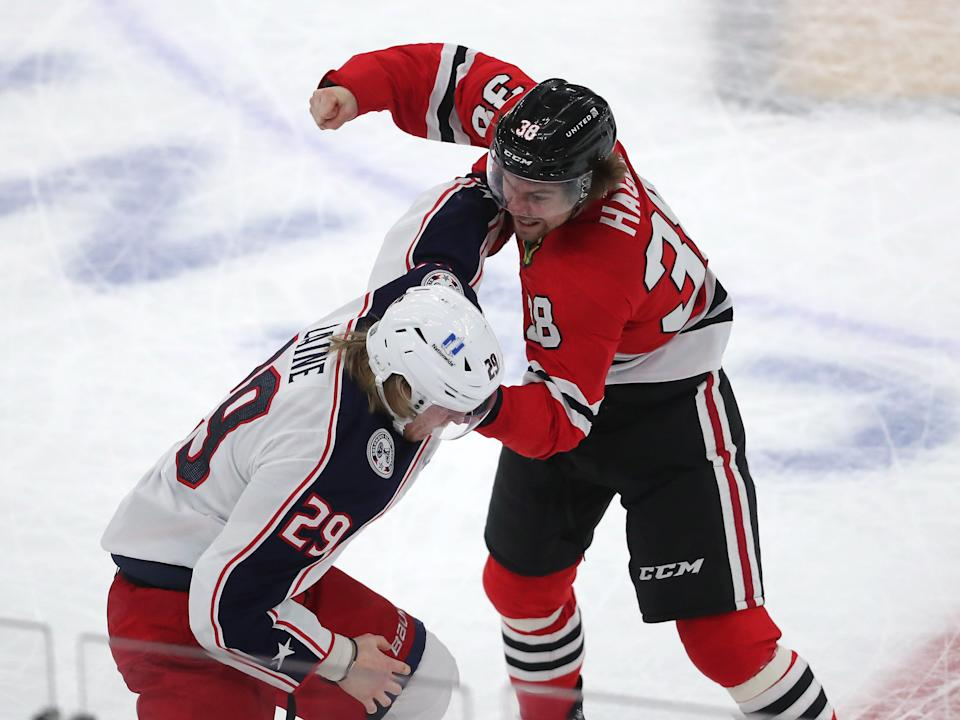 Feb. 13: Columbus Blue Jackets' Patrik Laine vs. Chicago Blackhawks' Brandon Hagel.