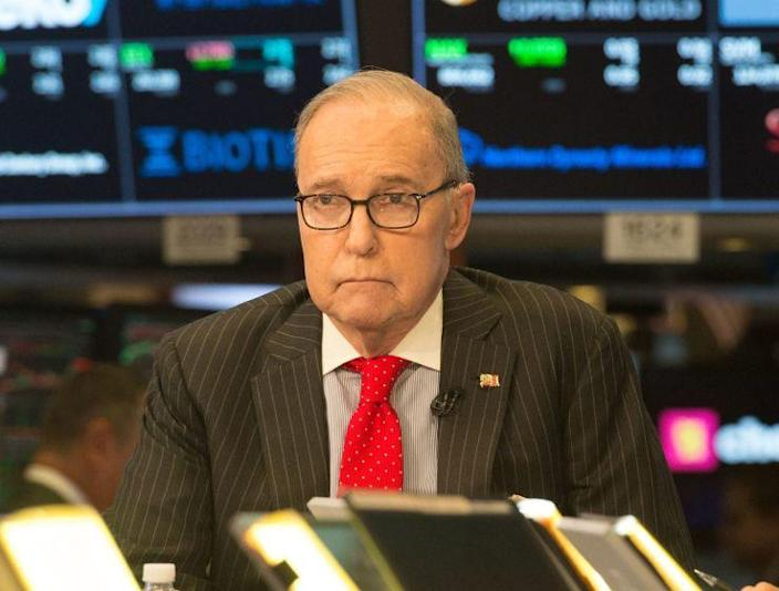 Economic analyst Larry Kudlow speaks on the set of CNBC in New York on March 8.