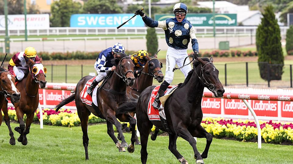 Glen Boss can be seen here celebrating his Cox Plate victory on Sir Dragonet.