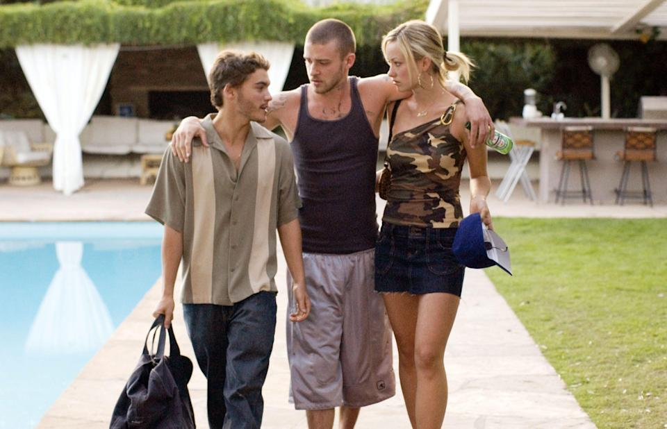 "Justin Timberlake (center) stars with Emile Hirsch and Olivia Wilde in the crime drama ""Alpha Dog."""