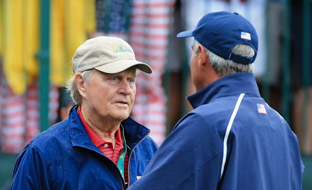 DUBLIN, OH - OCTOBER 06: Tournament host Jack Nicklaus waits on the first tee with U.S. Team Captain Fred Couples during the Day Four Singles Matches at the Muirfield Village Golf Club on October 6, 2013 in Dublin, Ohio. (Photo by David Cannon/Getty Images)