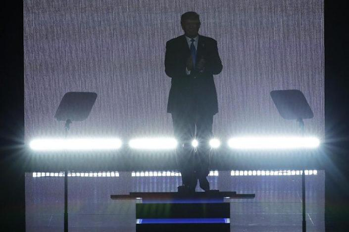 Donald Trump applauds as he steps to the podium to introduce his wife Melania during the opening day of the Republican National Convention. (Photo: J. Scott Applewhite/AP)