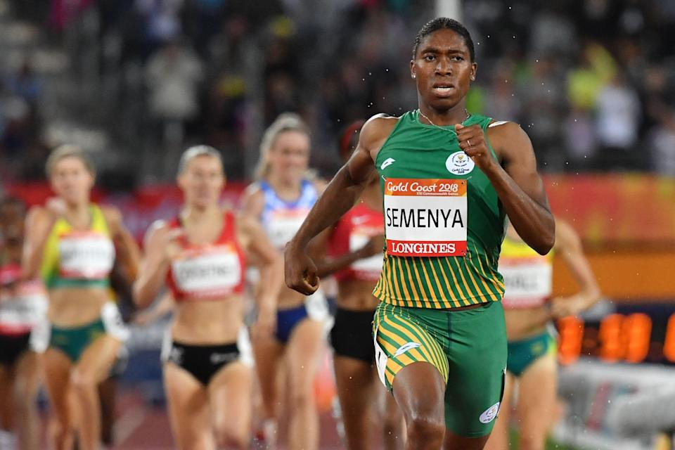 South Africa's Caster Semenya competes in the athletics women's 1500m final during the 2018 Gold Coast Commonwealth Games at the Carrara Stadium on the Gold Coast on April 10, 2018. Semenya, who is a cisgender woman, was one of the runners banned by World Athletics' testosterone rule.