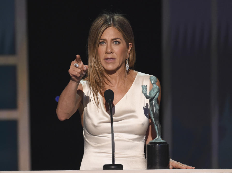 """Jennifer Aniston accepts the award for outstanding performance by a female actor in a drama series for """"The Morning Show"""" at the 26th annual Screen Actors Guild Awards at the Shrine Auditorium & Expo Hall on Sunday, Jan. 19, 2020, in Los Angeles. (Photo/Chris Pizzello)"""