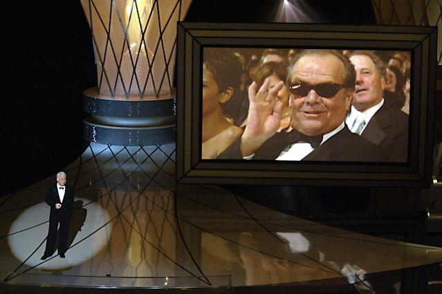 Host Steve Martin with Jack Nicholson on the screen at the 75th Annual Academy Awards at the Kodak Theater in Hollywood, Calif, on Sunday, March 23, 2003. (Photo by Brian Vander Brug/Los Angeles Times via Getty Images)
