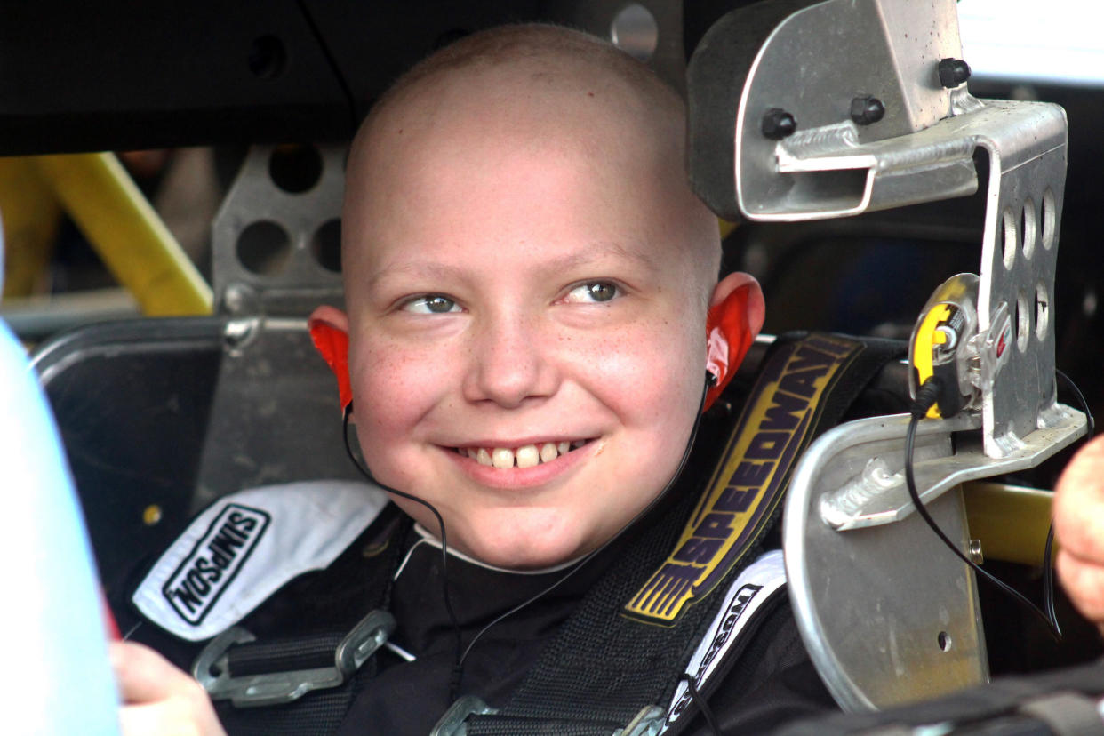 Caleb Hammond is spending his remaining days surrounded by racing and is asking for racing stickers for his casket after ending cancer treatment. (AP)