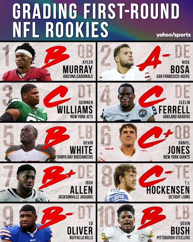 A look at Eric Edholm's rookie grades for the top 10 picks of the 2019 NFL draft. (Paul Rosales/Yahoo Sports)