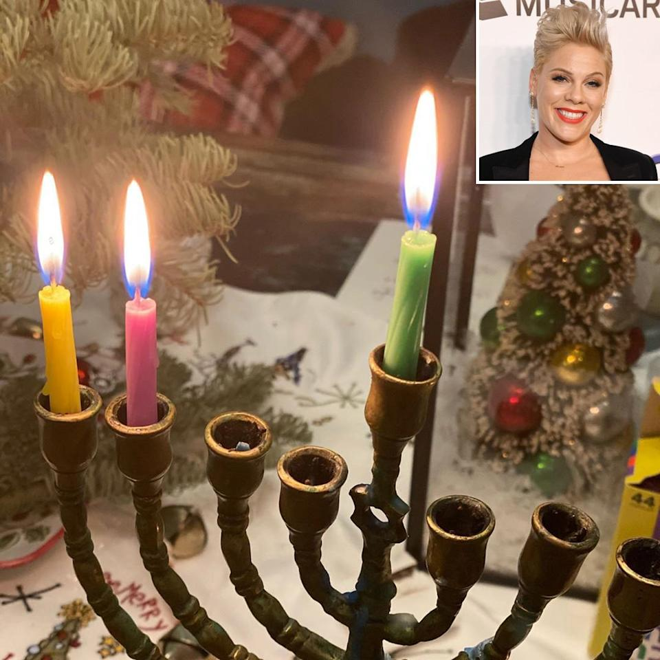 """The """"Raise Your Glass"""" singer seems to be celebrating both Christmas and Hannukah with her family this year, posting photos of their <a href=""""https://www.instagram.com/p/B6cH-LdJIgK/"""">menorah</a> as well as their <a href=""""https://www.instagram.com/p/B6FVN6opCrv/"""">Christmas tree.</a>"""