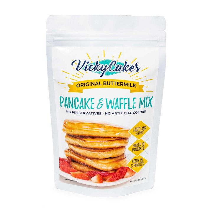 """<p><strong>Original Buttermilk Pancake and Waffle Mix</strong></p><p>vickycakesonline.com</p><p><strong>$4.99</strong></p><p><a href=""""https://www.vickycakesonline.com/product/original-pancake-waffle-mix/"""" rel=""""nofollow noopener"""" target=""""_blank"""" data-ylk=""""slk:BUY NOW"""" class=""""link rapid-noclick-resp"""">BUY NOW</a></p><p>The best family recipes get passed down through generations, and <a href=""""https://www.vickycakesonline.com/"""" rel=""""nofollow noopener"""" target=""""_blank"""" data-ylk=""""slk:Vicky Cakes"""" class=""""link rapid-noclick-resp"""">Vicky Cakes</a> is no exception. The dairy-free <a href=""""https://www.vickycakesonline.com/shop/"""" rel=""""nofollow noopener"""" target=""""_blank"""" data-ylk=""""slk:pancake and waffle mix"""" class=""""link rapid-noclick-resp"""">pancake and waffle mix</a> was originally created by Vicky, who only set out to feed her family of five. Forty years later, the products are still made without preservatives or artificial ingredients, and the company remains fully black-owned.</p>"""