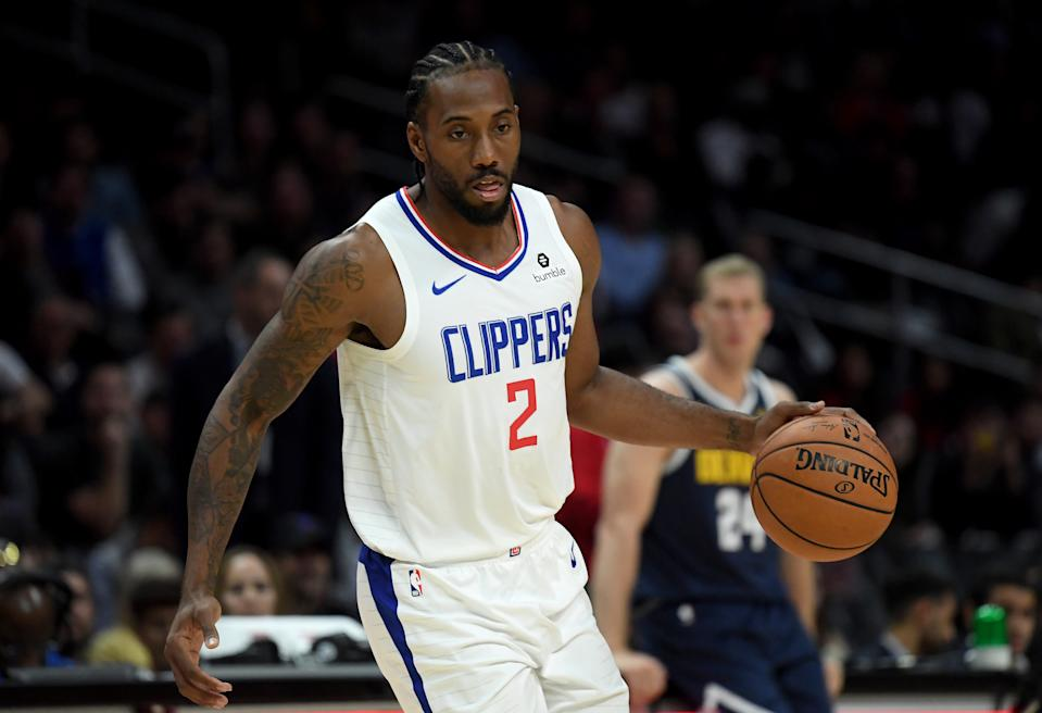 Kawhi Leonard em partida do LA Clippers. (Foto: Harry How/Getty Images)