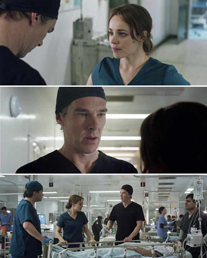 Stephen and Christine talking in a hospital