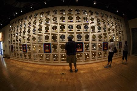 Patrons visit the Country Music Hall of Fame in downtown Nashville