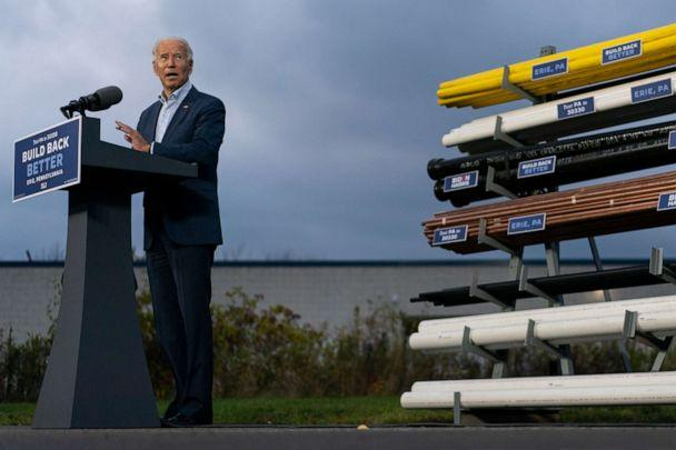 PHOTO: Democratic presidential candidate former Vice President Joe Biden speaks at the Plumbers Local Union No. 27 training center, Saturday, Oct. 10, 2020, in Erie, Pa. (Carolyn Kaster/AP)