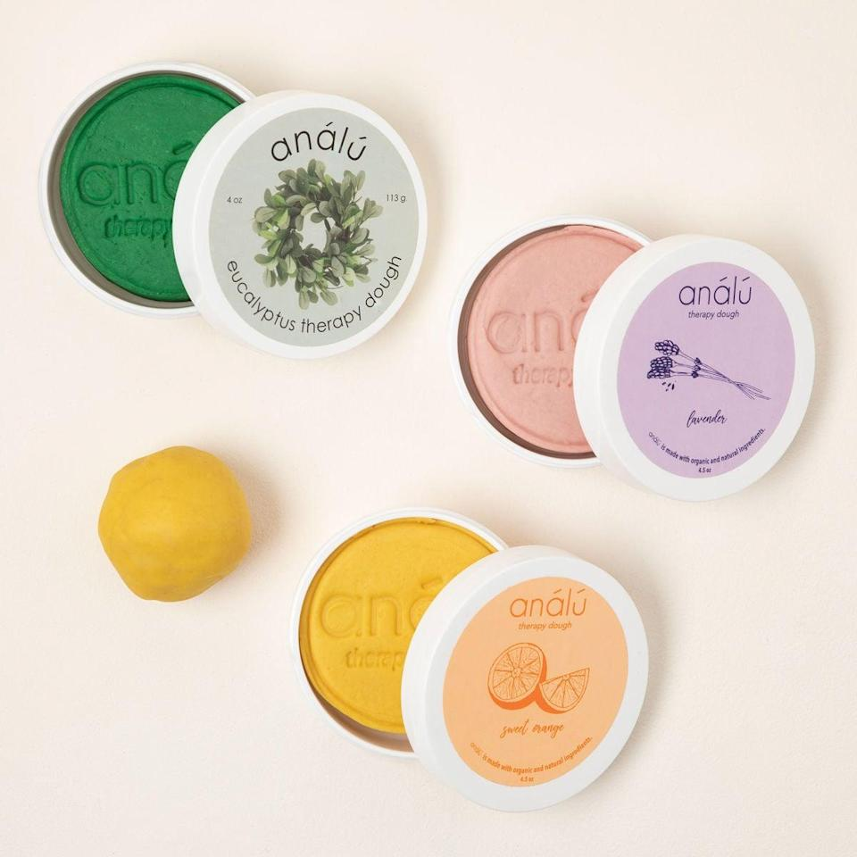 <p>The <span>Therapy Dough</span> ($15) is a great way to let their frustrations out in a physical and tactical way! It is infused with essential oils for a sensorial experience. Choose between lavender, orange, eucalyptus, and north wood pine.</p>