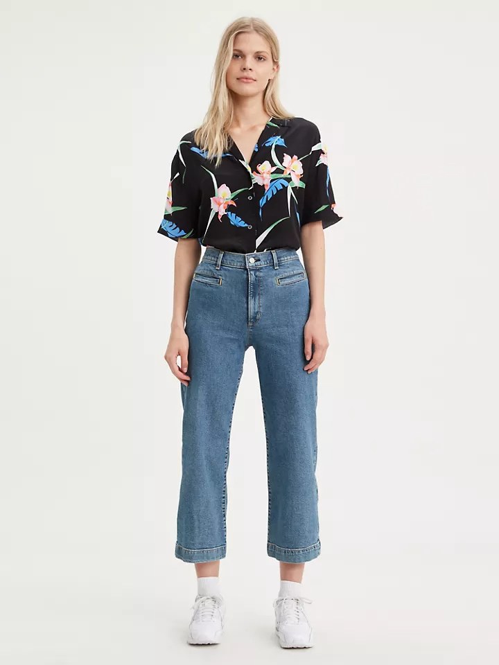 """<h3><a href=""""https://www.levi.com/"""" rel=""""nofollow noopener"""" target=""""_blank"""" data-ylk=""""slk:Levi's"""" class=""""link rapid-noclick-resp"""">Levi's</a></h3><br><strong>Dates: </strong>Limited time<br><strong>Sale: </strong>Markdowns on a select denim styles and apparel<br><strong>Promo Code:</strong> None<br><br>It may feel like we'll be living this <a href=""""https://www.refinery29.com/en-us/best-matching-sweatsuits-womens"""" rel=""""nofollow noopener"""" target=""""_blank"""" data-ylk=""""slk:matching sweatsuit"""" class=""""link rapid-noclick-resp"""">matching sweatsuit</a> life forever, but eventually it will be time to break out the hard pants again — so you might as well stock up on a pair or two now from the <a href=""""https://www.levi.com/US/en_US/sale/womens-sale/c/levi_clothing_women_sale_us?ab=banner_allsale_shopjackets_082619"""" rel=""""nofollow noopener"""" target=""""_blank"""" data-ylk=""""slk:Levi's sale section"""" class=""""link rapid-noclick-resp"""">Levi's sale section</a>. <br><br><strong>Levi's</strong> Ribcage Wide Leg Cropped Jeans, $, available at <a href=""""https://go.skimresources.com/?id=30283X879131&url=https%3A%2F%2Fwww.levi.com%2FUS%2Fen_US%2Fapparel%2Fclothing%2Fbottoms%2Fribcage-wide-leg-cropped-womens-jeans%2Fp%2F798480007"""" rel=""""nofollow noopener"""" target=""""_blank"""" data-ylk=""""slk:Levi's"""" class=""""link rapid-noclick-resp"""">Levi's</a>"""