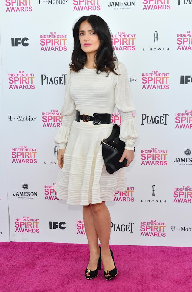 SANTA MONICA, CA - FEBRUARY 23:  Actress Salma Hayek attends the 2013 Film Independent Spirit Awards at Santa Monica Beach on February 23, 2013 in Santa Monica, California.  (Photo by Alberto E. Rodriguez/Getty Images)